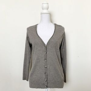 Theory Button Up Sweater Sz L Greys 3/4 Sleeve